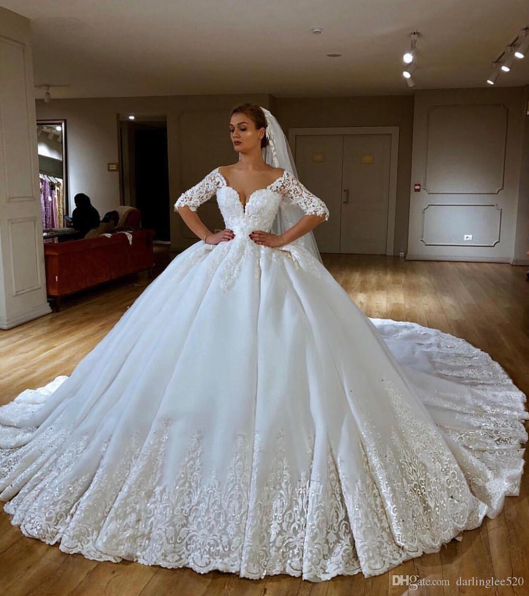a00045d1f43 Vestido De Novia Wedding Dress A Line Satin Sweetheart Neckline Illusion  Long Sleeve Applique Chapel Train Beads Luxury Wedding Bridal Gown Bridal  Gowns ...