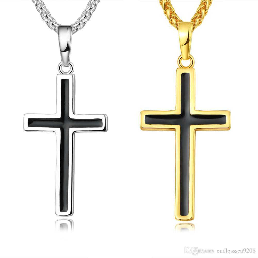 Latin Christian Cross Pendentifs Colliers Bijoux Religieux Or Plaqué / En Acier Inoxydable De Mode Croix Bijoux Parfait Cadeau Accessoires