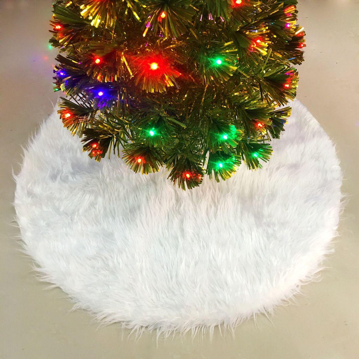White Plush Christmas Tree Skirts Fur Carpet Merry Christmas ...