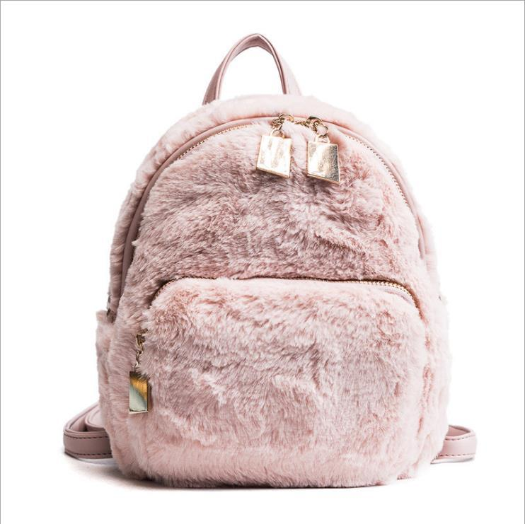 27d878c859 Winter New Women Faux Fur Backpacks School Bags For Teenagers Rabbit Hair  Mini Soft Plush Shoulder BagsVelvet Bag Leather Backpack Laptop Backpack  From ...
