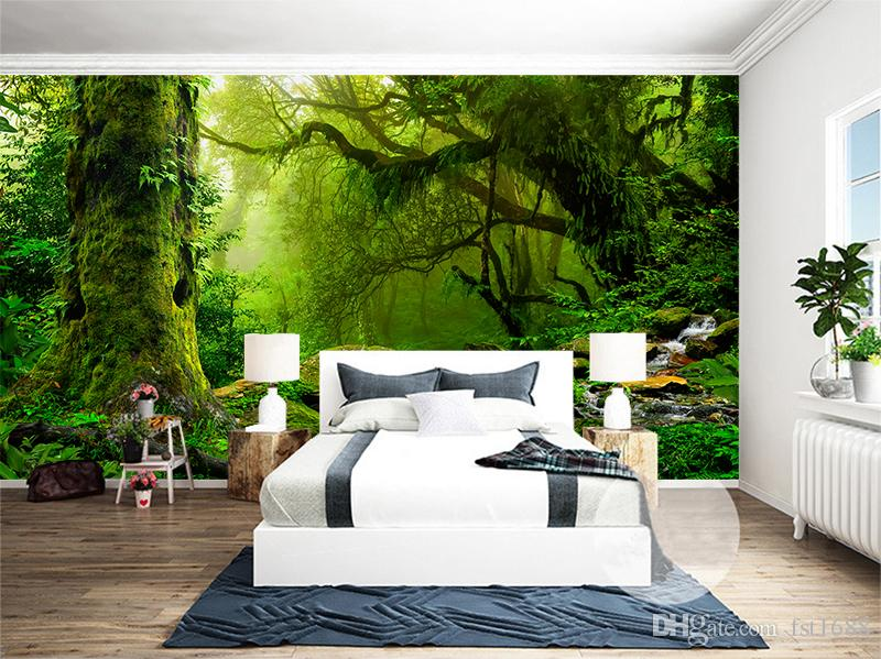 Personalizado 3D Papel De Parede Floresta Primeval Selva Natureza Paisagem Árvore Pintura De Parede Moderna Murais de Parede Sala de TV Fundo Decoração