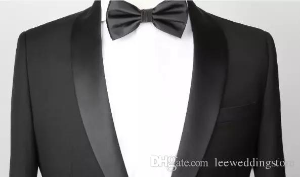 Custom Made Men Suits Black Wedding Suits For Man Shawl Lapel Slim Fit Formal Bridegroom Tuxedo Groomsmen Best Man Handsome Jacket+Pants
