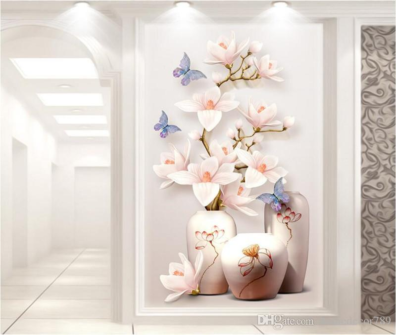 Custom HD Photo Papel tapiz 3D Murales de flores Entrada de pasillo papel tapiz 3d Papel de pared Decoración para el hogar Cocina Sala de estar