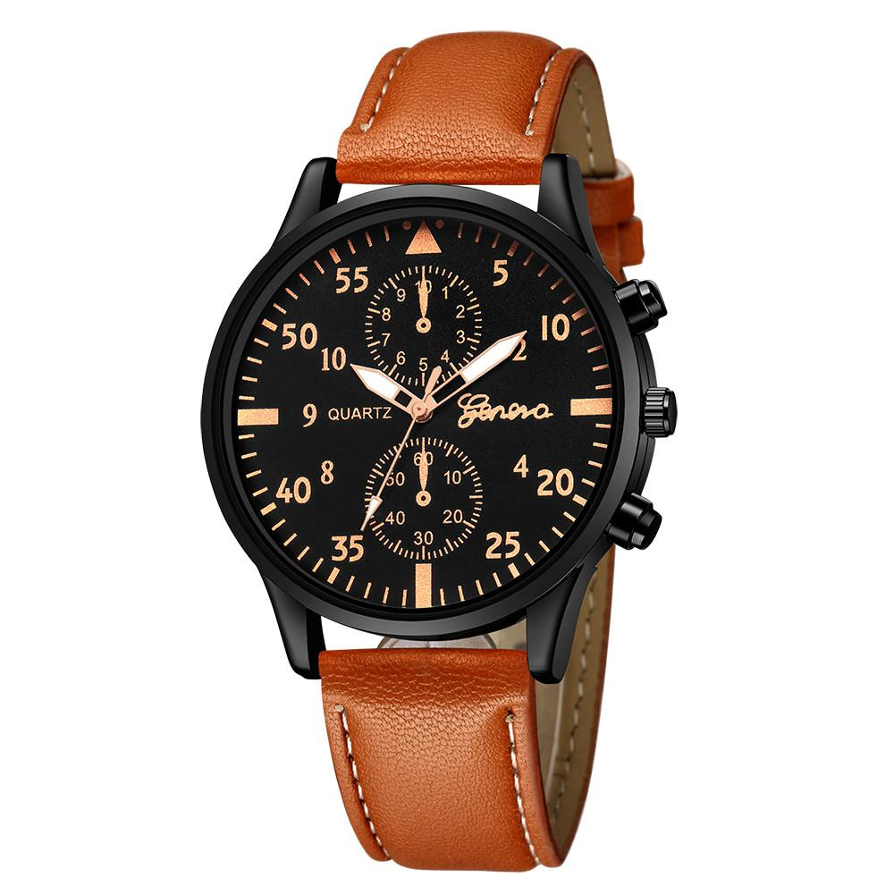 Watches Water Resistance Hot Mens Analog Steel Case Quartz Dial Synthetic Leather Wrist Sport Watch 2018 Erkek Kol Saati Gift Dropship