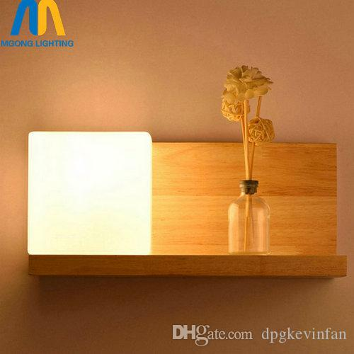 Acheter Led De Verre Applique Bois Intérieur Lampes Mur Murale En cFKTl1J