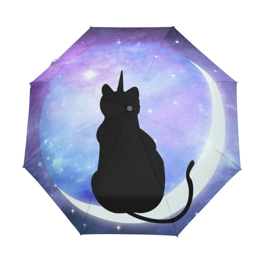 Cartoon Cute Galaxy Cat on the Moon Three Folding Umbrella 8 Rib Pongee Wind Resistant Frame with Inner Black Coating for Women