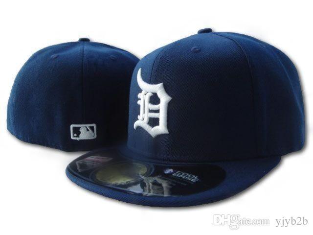 6f378e02097 2018 Men S Tigers Fitted Navy Blue Color Baseball Hats Flat Brim Sports  Team Logo Embroidered Flat Full Closed Caps Cheap Bones Gorras Flat Bill  Hats ...