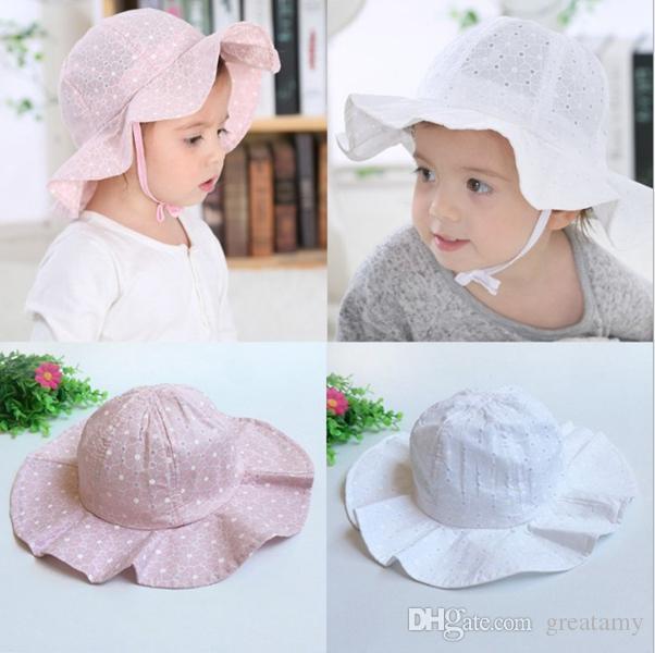 97da8c82 New sun cap floral print summer outdoor baby girl pink white beach bucket  hats baby fashion cotton bucket hat top quality
