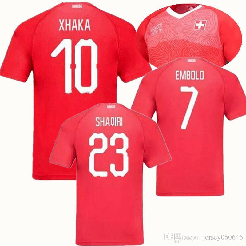 2019 2018 2019 World Cup Switzerland Soccer Jersey 18 19 EMBOLO XHAKA Switzerland  Jerseys SHAQIRI ZAKARIA EMBOLO FERNANOES INLER Football Shirts From ... e7dc40126