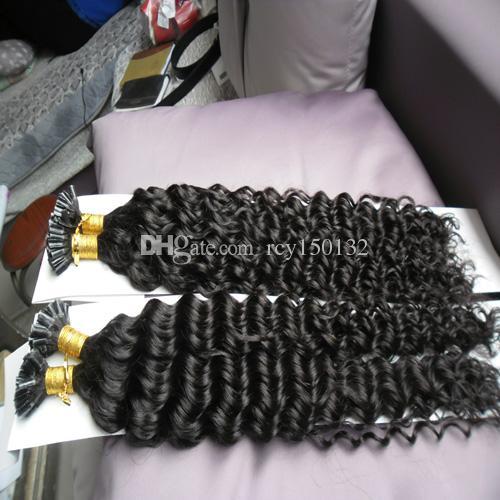 U Tip Human Hair Extension kinky curly 200g 200s Keratin Capsules Human Fusion Hair Nail U Tip Machine Made Remy Pre Bonded Hair Extension