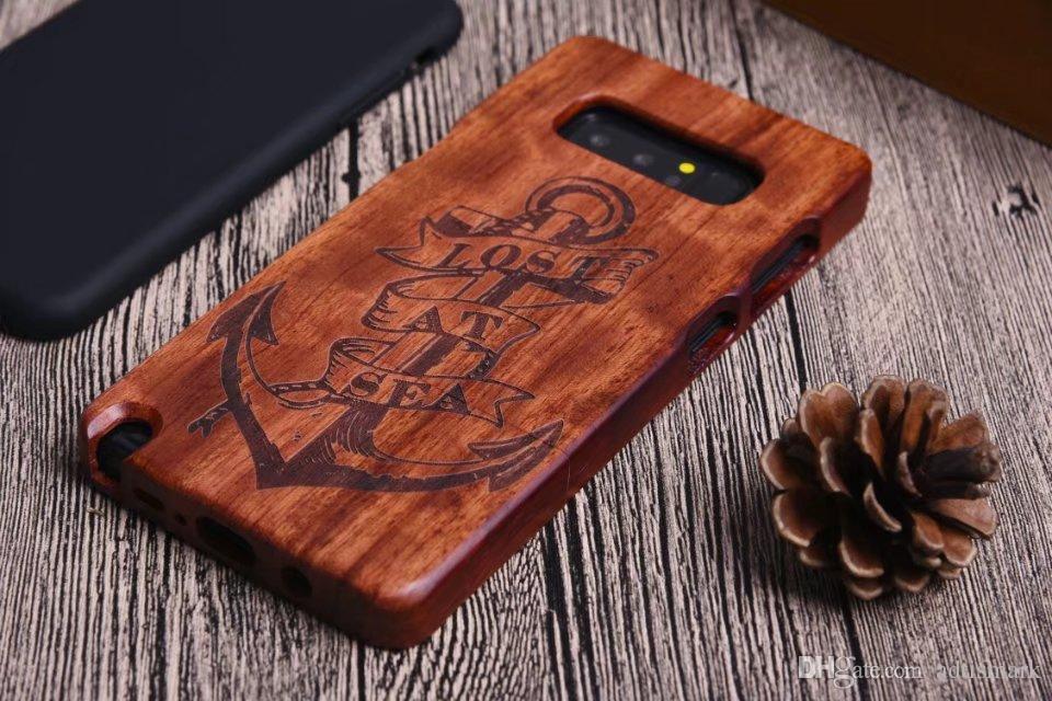 الرجعية زهرة نحت الخشب + PC حالة الهاتف لسامسونج غالاكسي ملاحظة 8 الغطاء الصلب حالة خشبية الطبيعية