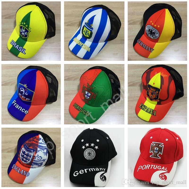 430da8b503e 2019 2018 World Cup Caps Snapback Soccer Spain France Germany Brazil Brasil  Argentina Portugal England Football Hats Adjust National Team Fashion From  ...