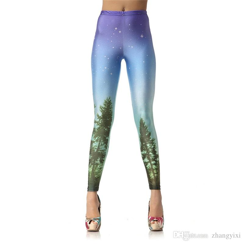 Wholesale Women Skull ROse Snowflake Galaxy Forest 3D Sublimation Printed Skinny Tight Trousers Fashion Leggings