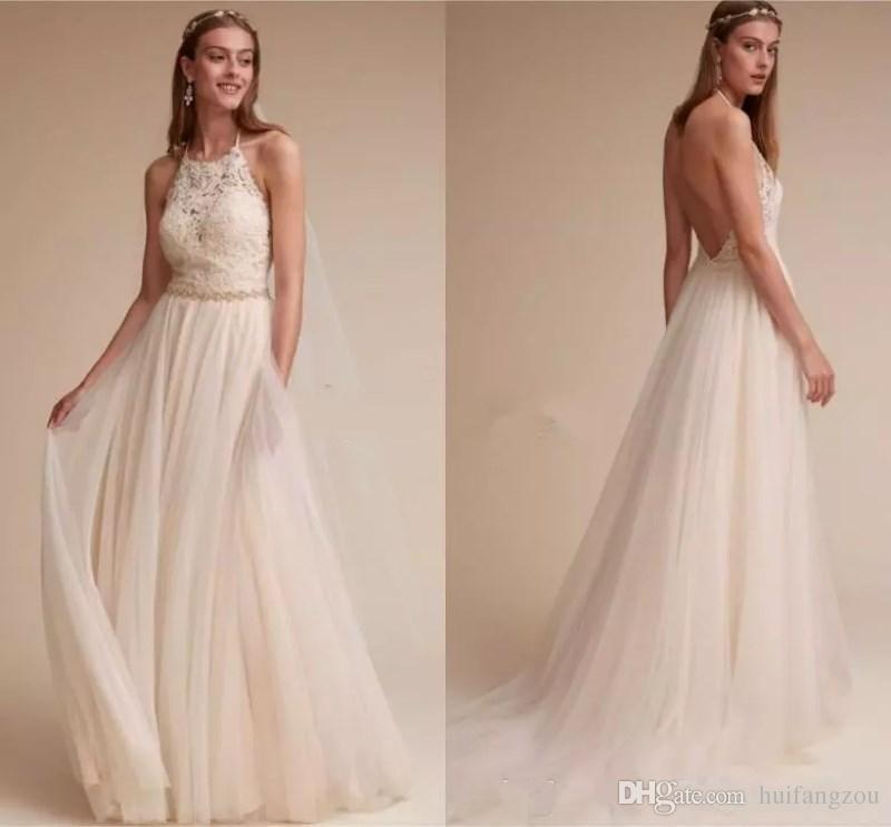Rabattgutschein großes Sortiment heiß-verkaufendes echtes Strand Spitze Backless Kleid Gast Noiva Hochzeit Vestidos ...