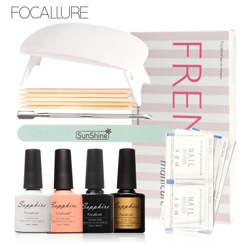 Outils Couleurs Gel Ensembles Focallure Kit Uv Nails 4 Nail Art Kits Manucure Led Et Lampe Français Sapphire b7fY6mIgyv