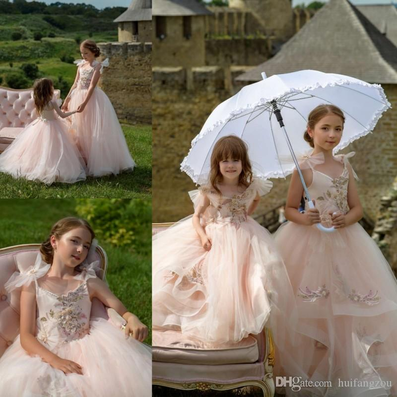 2019 Pretty Princess Flower Girl Dresses Lace Spaghetti Appliques