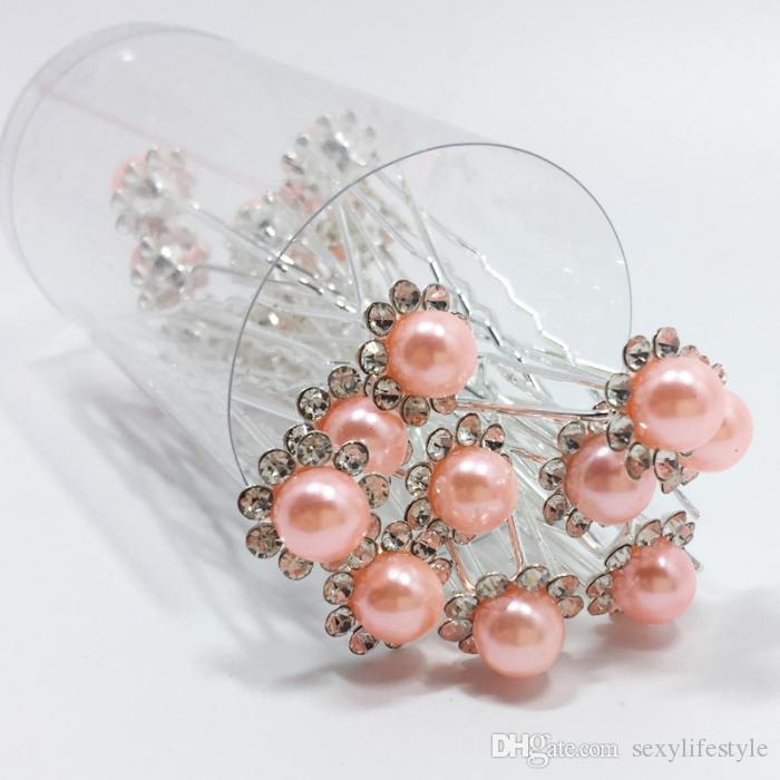 10 Teile / satz Braut Haarnadeln Perlen Strass Hochzeit Braut Blume Haarnadeln Clip Griffe Frauen Damen Mädchen Haarschmuck
