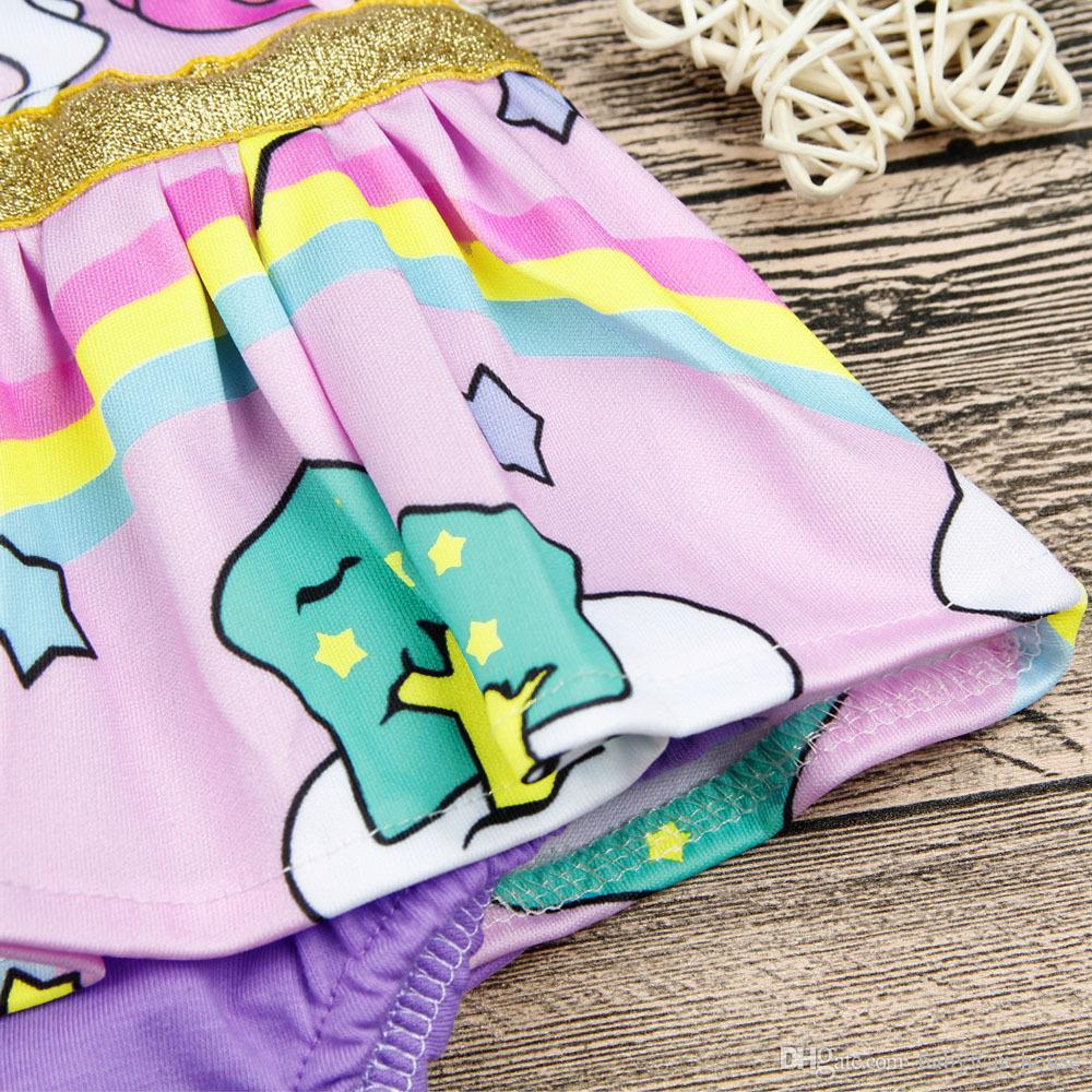 جميل الوليد ملابس طفلة يونيكورن رومبير rainbow الكشكشة كم الكرتون الحيوان متجنب رومبير بذلة تتسابق الاطفال الأميرة sunsuit