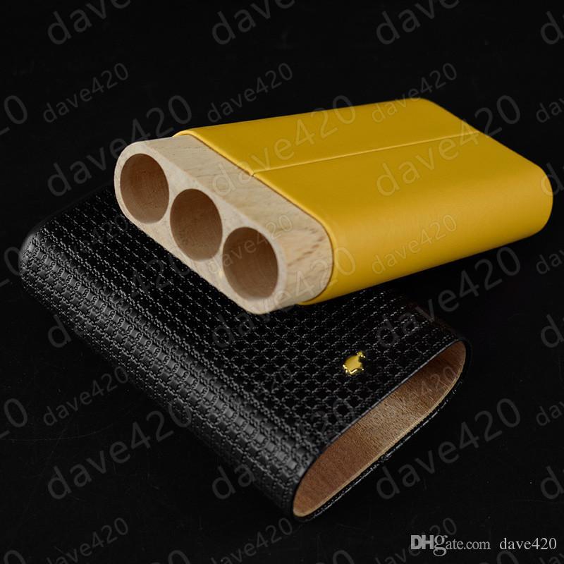 En kaliteli yeni üç tüpler puro neme COHIBA puro tutucu deri ahşap puro kılıf neme fantezi hediye kutusu ile