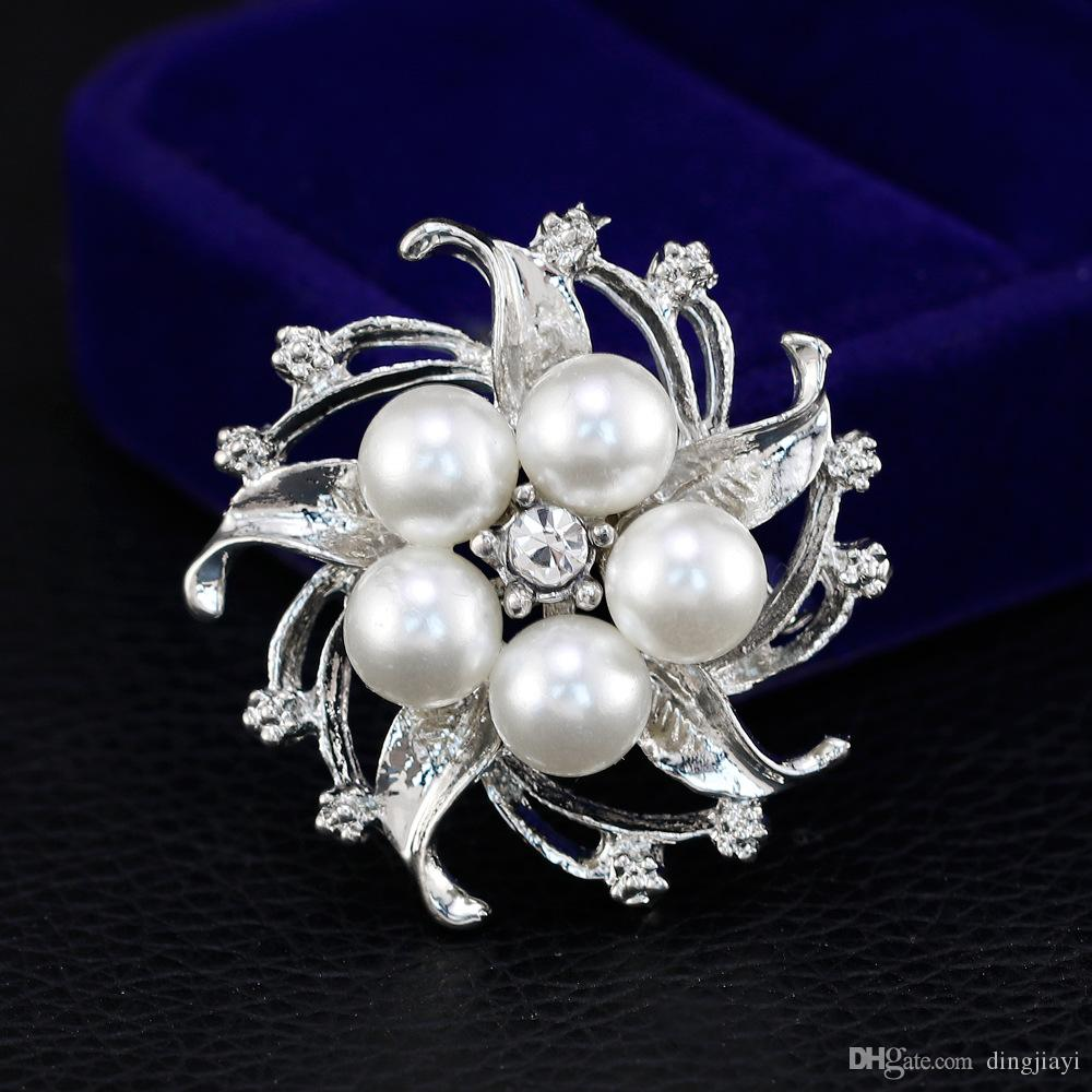 Popüler Temizle Rhinestone Çiçek Taklit İnci Broş Pin Takı Kadınlar Düğün Parti Için