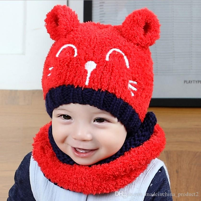 Baby Embroidery Bear Knitted Hat With Scarf 2018 New America Girl Boy Infant Winter Warm Beanie Cap Wholesale