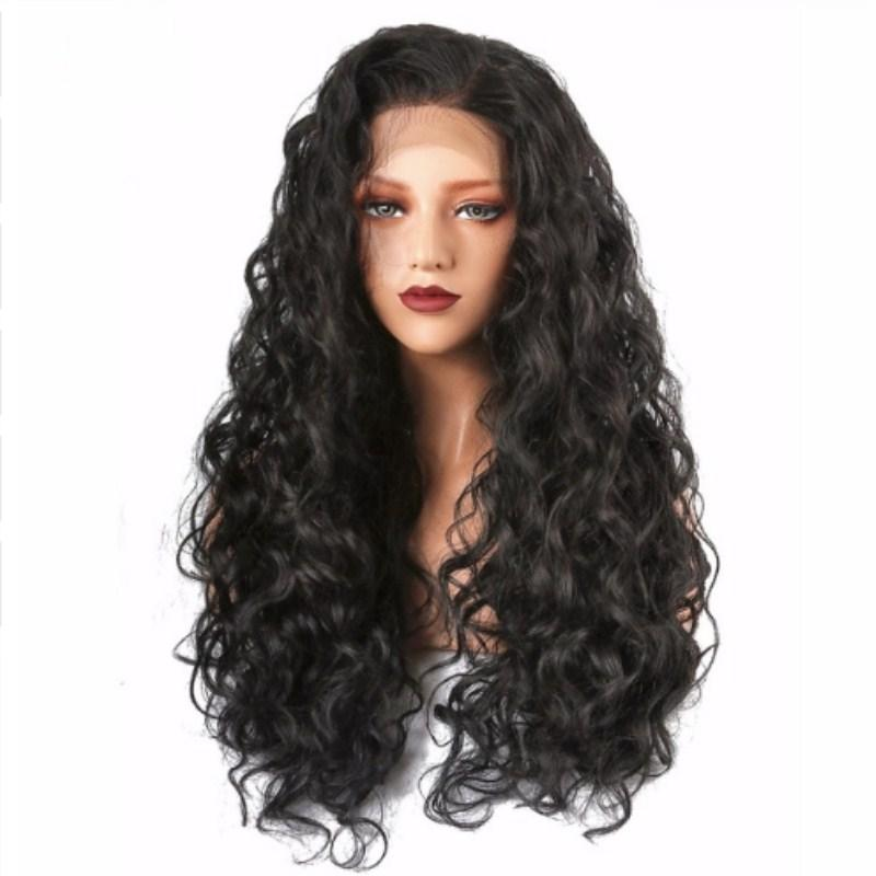 Long Kinky Curly Synthetic Lace Front Wig Black Afro Women S Wig Natural  Wigs For Women Black Daily Use Half Hand Tied 26 Inch Wigs Styles Lace Hair  Wigs ... f3561487ad