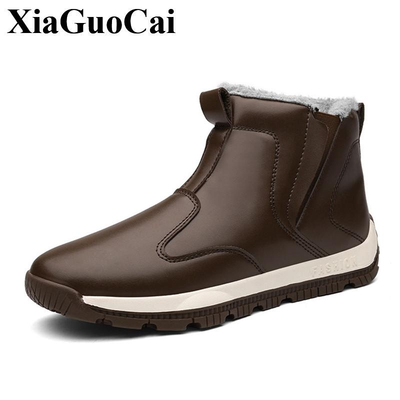 226276fedb7 Winter Men Snow Boots with Fur Waterproof Warm Fleeces High Top Slip on  Casual Shoes Large Size Solid England Retro Cotton Shoes