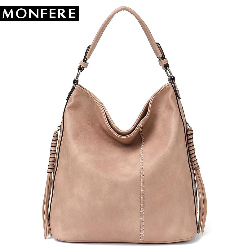 f1560ab1bc1 MONFERE Faux Leather Hobo Handbag Large Tote Women Daily Shoulder Bag  Female Tassel Thread Top Handle Crossbody Ladies Bag 2018 Y18102604 Designer  Handbags ...