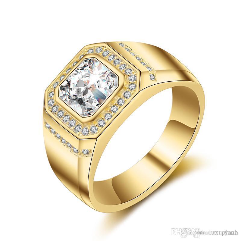 Grosshandel Mens Gold Hochzeit Ring 925 Silber Mit Grossen Diamanten