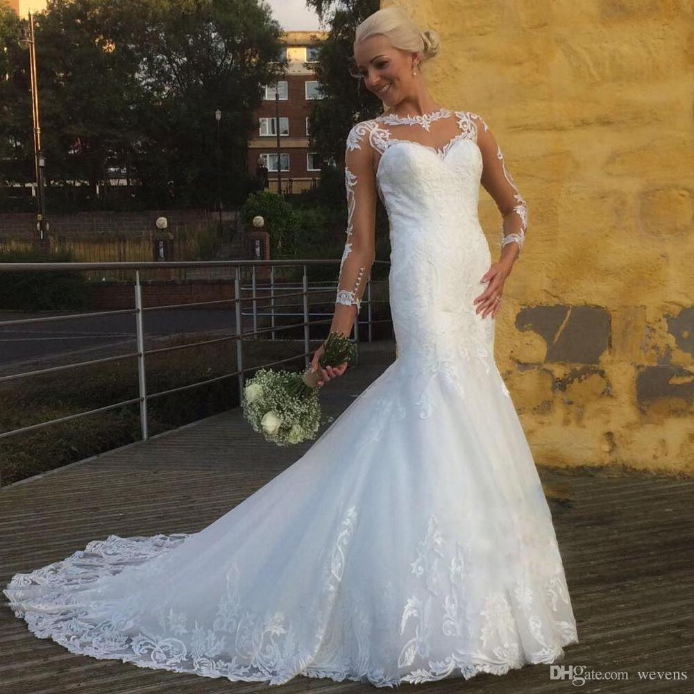 Beautiful Retro Lace Mermaid Wedding Gown Jewel Neck Full Sleeve See Through Country Bridal Dress Long Boho Skirt Gowns Big: See Through Country Wedding Dresses At Reisefeber.org
