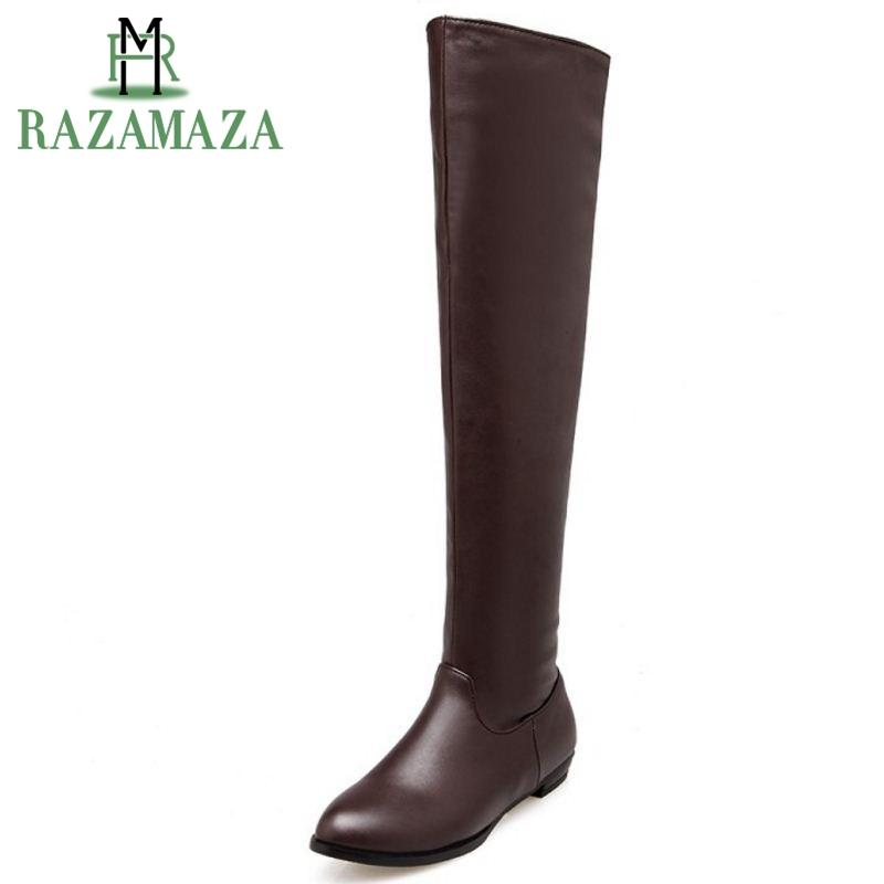 6939442a81cd RAZAMAZA Size 34 45 Women Over Knee Flats Boots Zipper Long Boots Women  Warm Fur Shoes For Cold Winter Snow Botas Footwear Boots Sale Wedge Boots  From ...