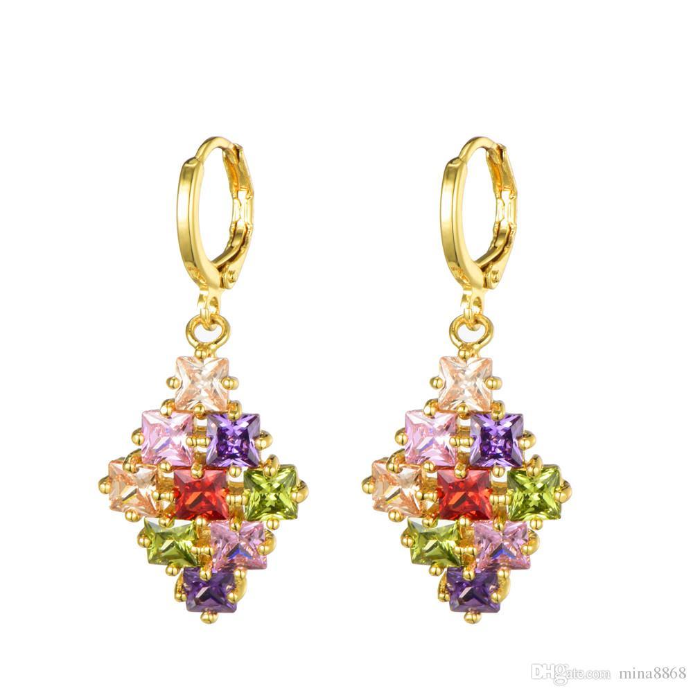 Colorido CZ Conjuntos de Jóias de Cristal da cor do Ouro Zirconia flor Brincos Colar Set para Mulheres Traje Do Presente Do Partido