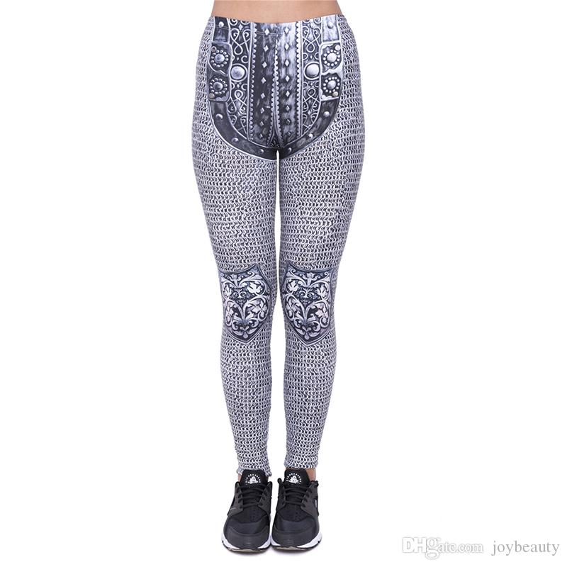 82bb2d467c714f 2019 Women Leggings Chainmail 3D Print Lady Skinny Stretchy Pants ...