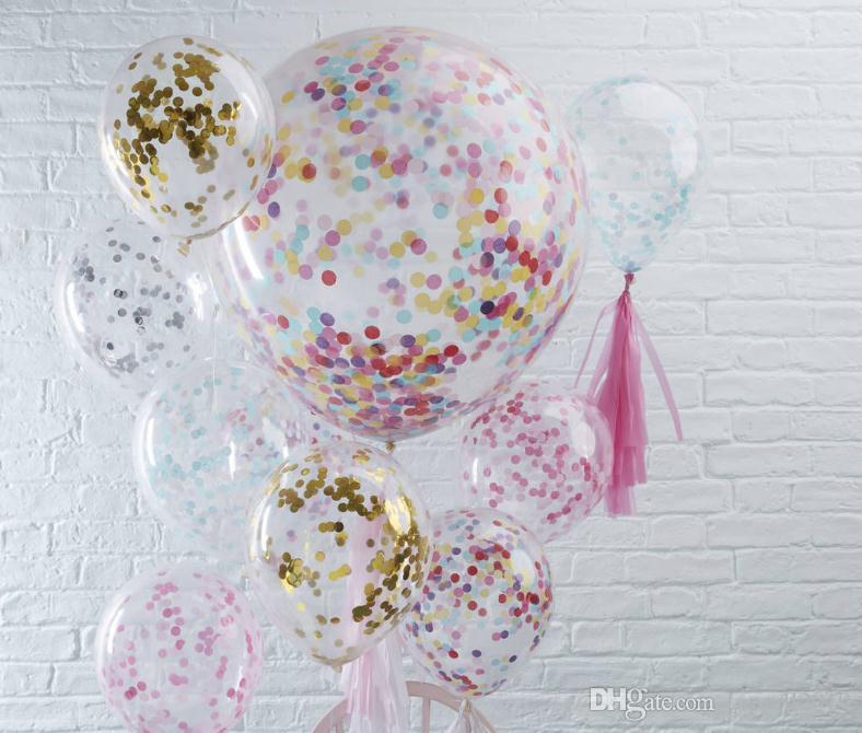 12 pollici Confetti Balloon Decorazioni di nozze romantiche Schiuma di oro trasparente Confetti Palloncini Decorazione festa di compleanno Forniture SN614