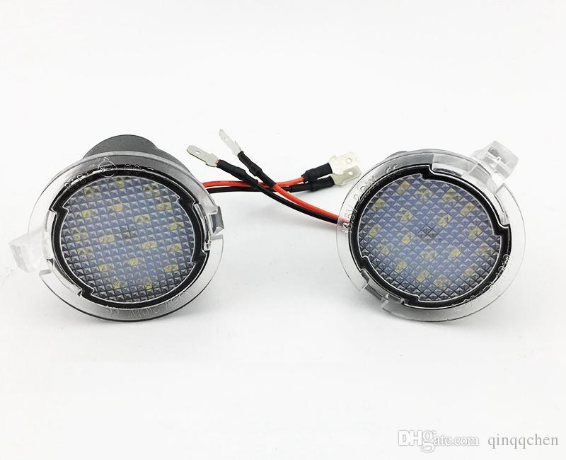 For Ford LED Side Mirror Puddle Light Lamp White 18LED For Explorer Mondeo  Edge Taurusp F150 Pick Up Heritage 2pcs/lot