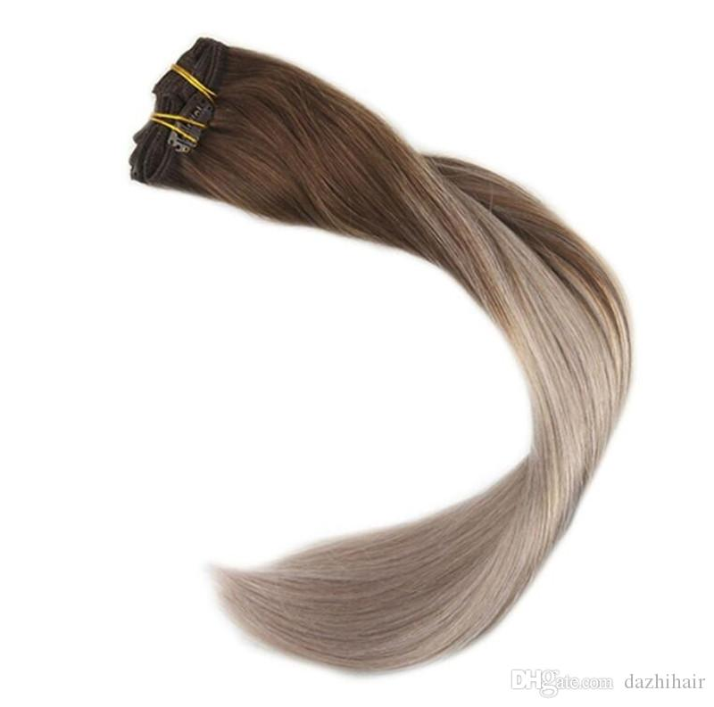 Human Hair Extensions Clip In 120g 140gombre Color 4 Fading To 18