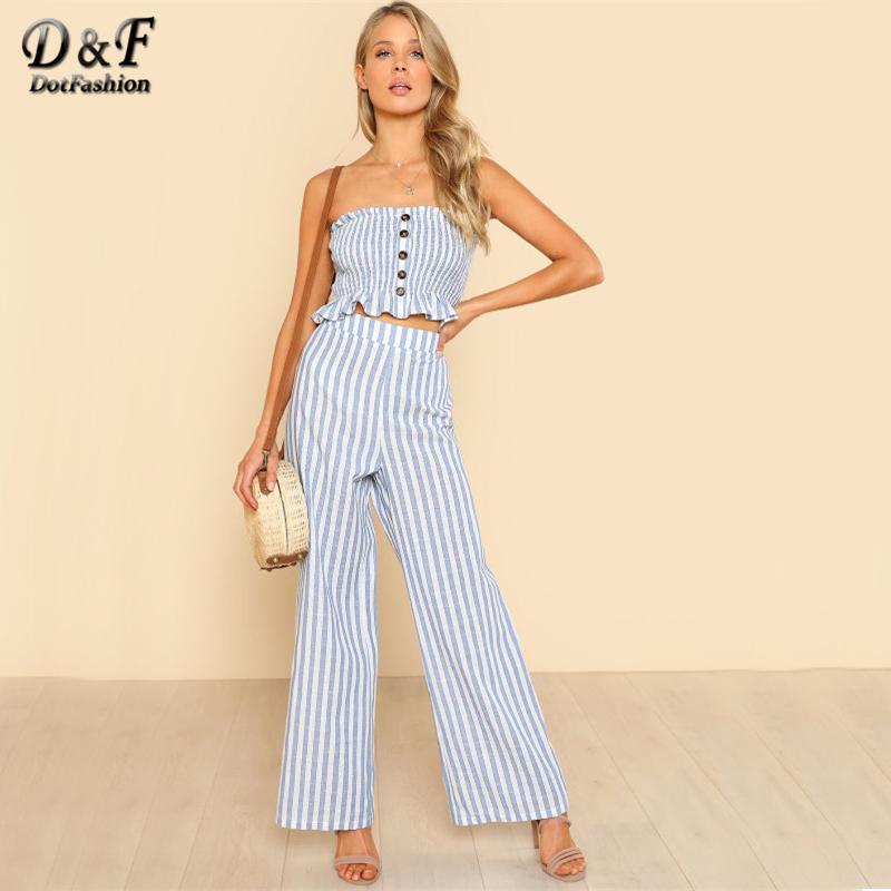 Acquista Dashion Shirred Pantaloni Senza Bretelle Con Orlo Arricciato Set  Blu E Bianco Con Maniche Top Senza Maniche Con Pantaloni Lunghi Set Da 2  Pezzi A ... 912434ae25e