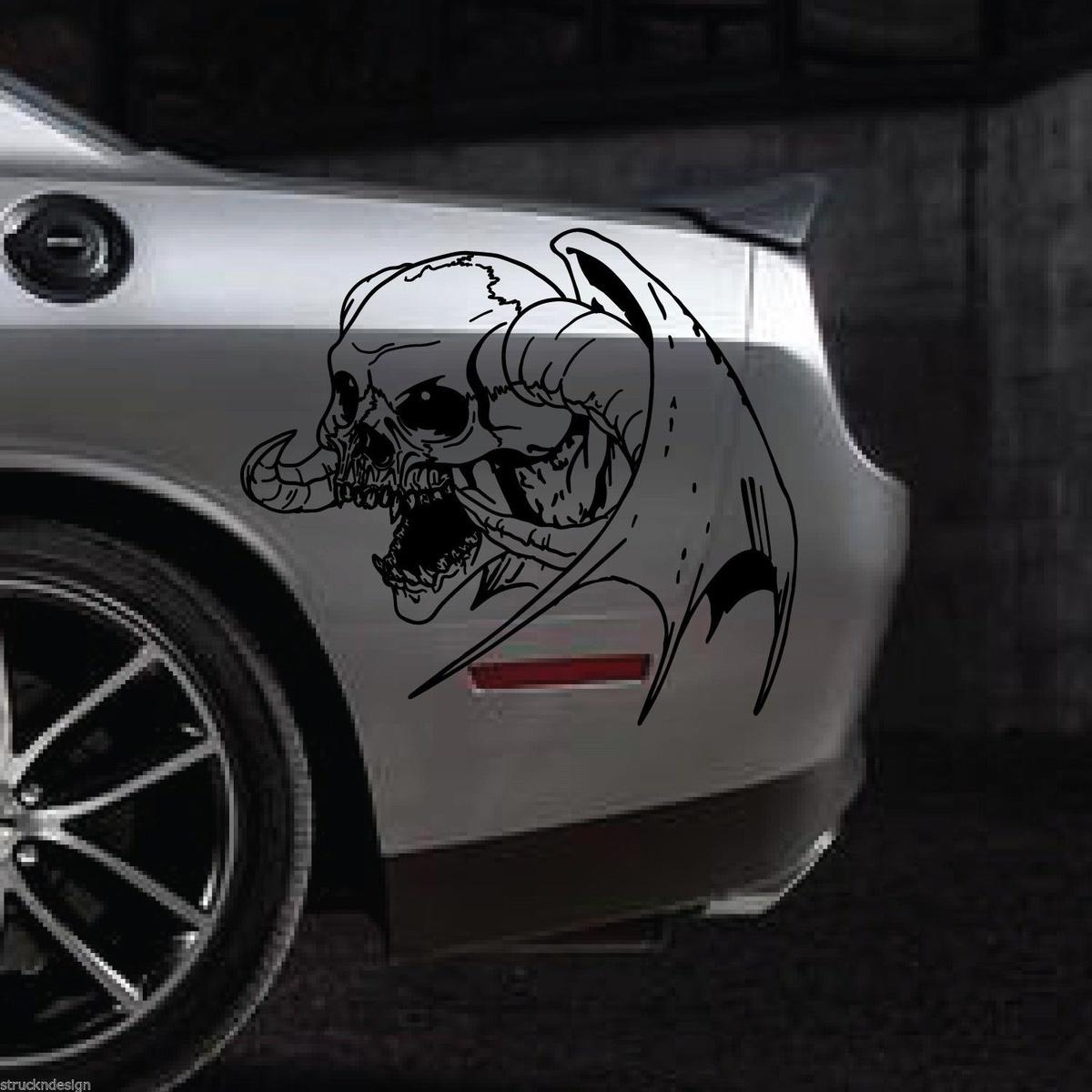 2019 for winged skull vinyl decal sticker car truck vehicle horn devil dodge ram suv van from redchinatown 10 05 dhgate com