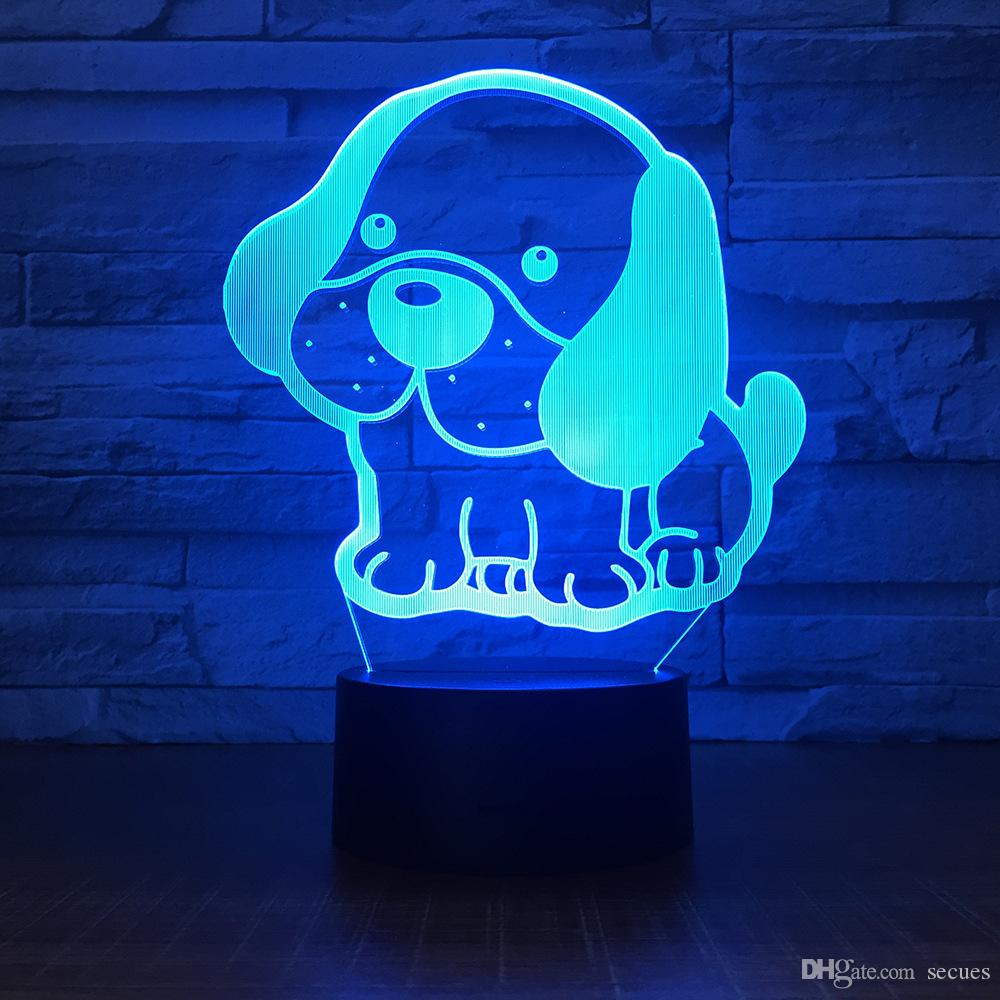 Lovely Dog 3D Illusion light Lamp 5th Battery Bin USB Powered 7 RGB Light DC 5V Wholesale Free Shipping