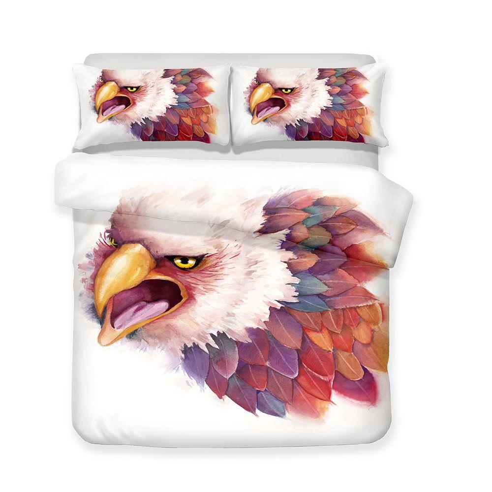Wholesale Animal Print White Eagle Hawk 3d Bedding Sets King Queen