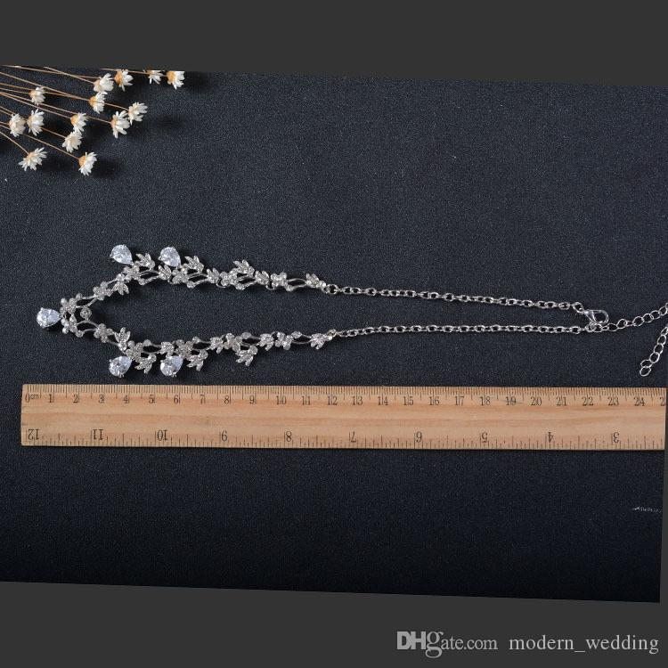 Real Image Water Drop Bridesmaid Women Wedding Accessories Jewelry set cheap Bridal Jewelry earcip or pierced