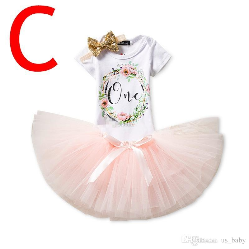 "Gilrs ""One"" Birthday set Infant white rompers & sequin tutu skirt & baby flower headband outfit"