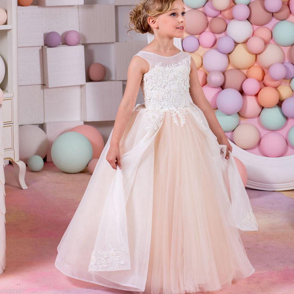 485759a58ba Pageant Kids Gown Champagne Tulle Lace Flower Girl Dresses For Wedding Dance  Floor Length Child Party Birthday Dress 17flgB465 Satin Flower Girl Dresses  ...