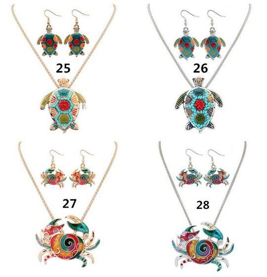 Fashion Jewelry Sets Enamel Elephant tortoise crab Dolphin Sea Horse Starfish Animal Earrings & Necklace For Women Necklace Jewelry Gift