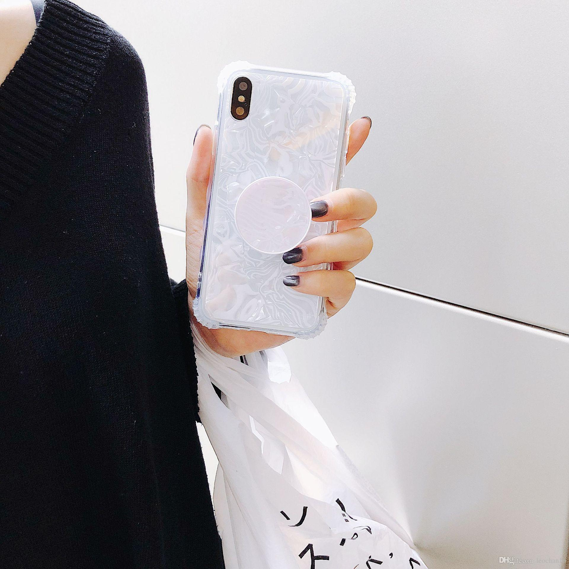Pretty NEW Conch Shell Phone Case with Retractable Airbag Bracket Kickstand Back Cover Protector for iPhone X 10 6s 7 8 Plus