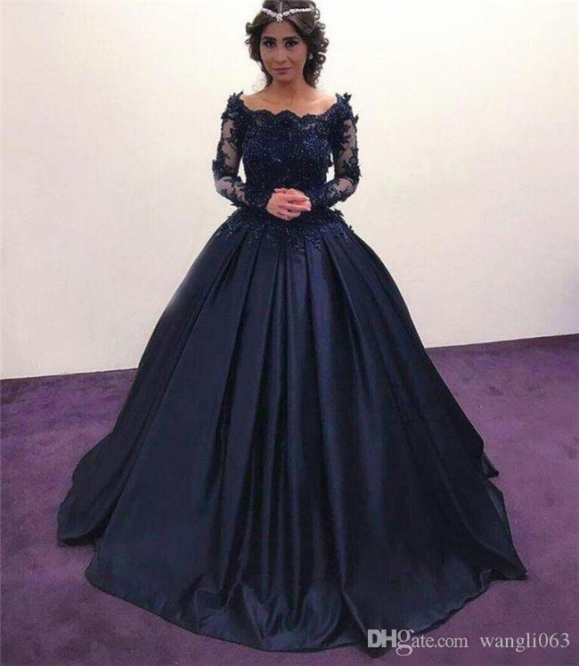 Navy Blue Long Sleeve Evening Dresses Illusion Neck Beaded Lace Satin masquerade Ball Gown African Formal Prom Dress Plus Size Party Gowns