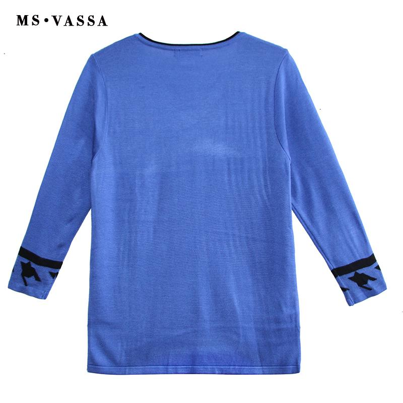 MS VASSA Women Sweaters 2018 New Autumn Solid V-Neck Ladies Jumpers Long Sleeve Stylish Winter Pullovers Oversized Plus Size 5XL