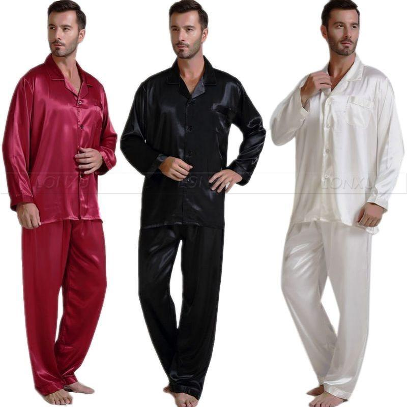 83614872bd555 2019 Mens Silk Satin Pajamas Set Pajama Pyjamas Set PJS Sleepwear Loungewear  S