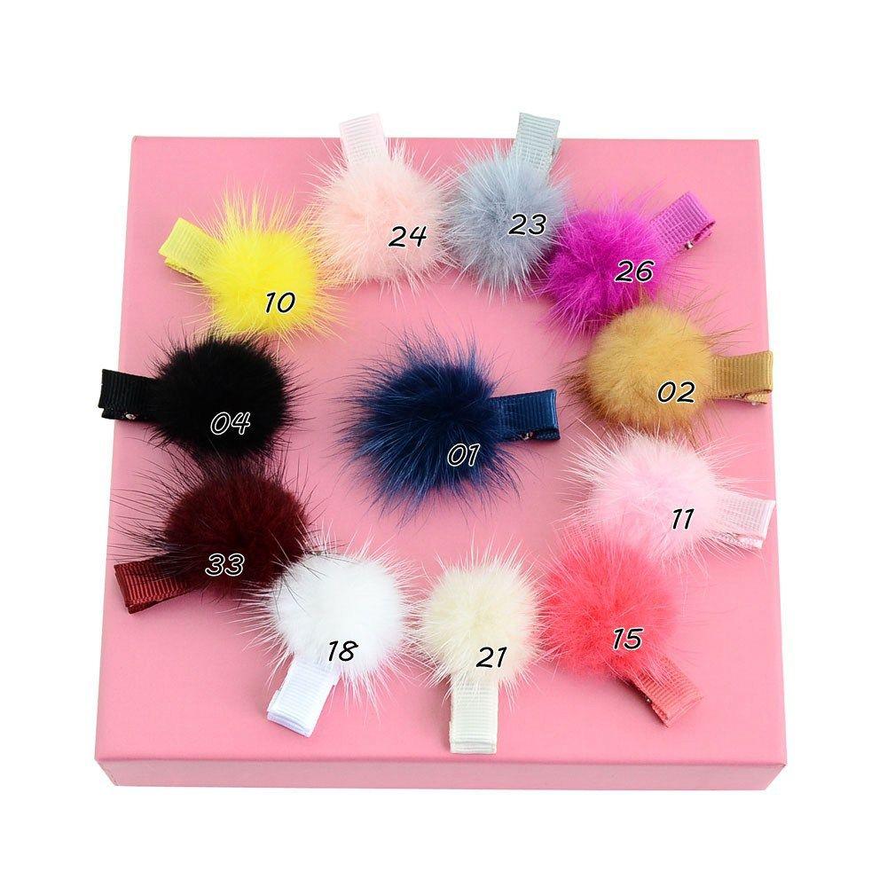 Atacado coreano Fasion meninas Faux Fur cabelo Bow bebê Pom Pom Hairpin Crianças Boutique Barrettes Acessórios de cabelo Crianças Pompon Headwear H57