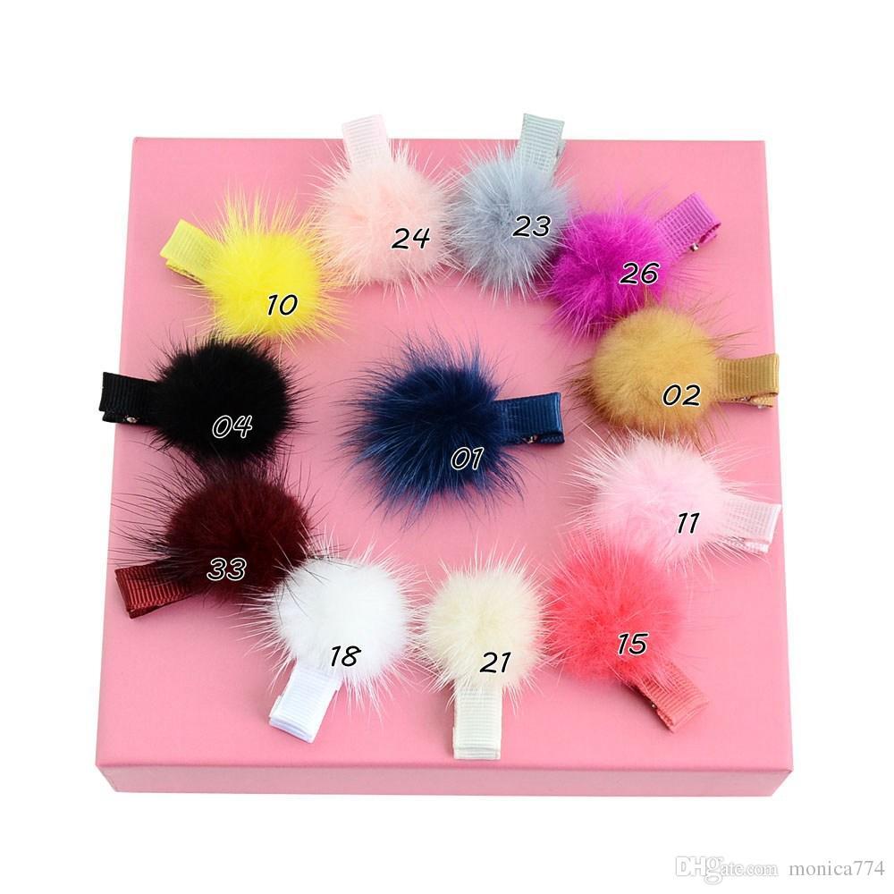 Wholesale Korean Fasion Girls Faux Fur Hair Bow Baby Pom Pom Hairpin Kids Boutique Barrettes Hair Accessories Kids Pompon Headwear H57